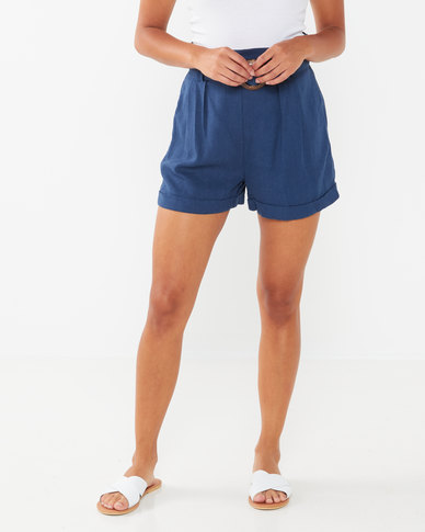 New Look Linen Look Buckle Shorts Pale Blue