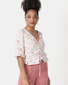 New Look Floral Ruched Frill Top White