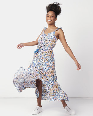 New Look Print One Button Maxi  Blue