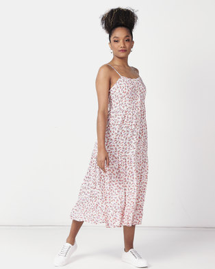 New Look Floral Print Button Front Midi Dress White