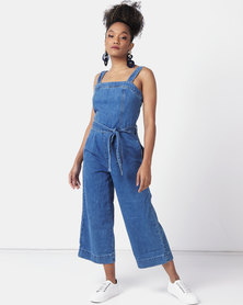 New Look Tie Waist Denim Jumpsuit Pale Blue