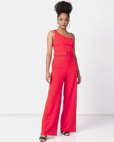 New Look One Shoulder Belted Jumpsuit Red