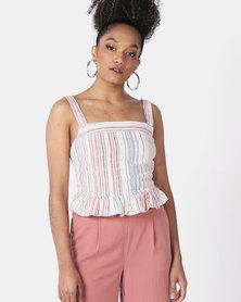 New Look Stripe Linen Blend Peplum Cami Multi