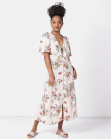 New Look Floral Tie Button Up Midi Dress Off White