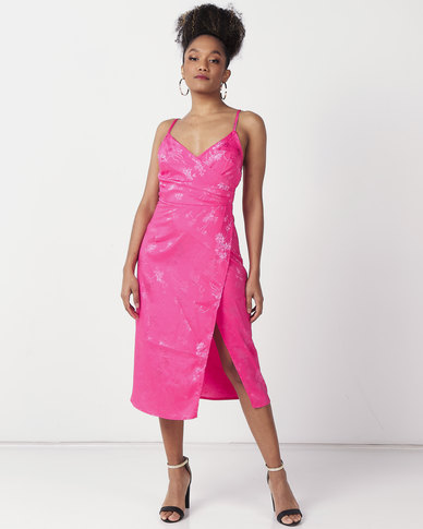 New Look Jacquard Midi Dress Bright Pink Floral Satin