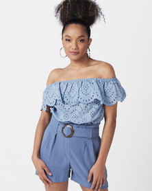 New Look Broderie Bardot Crop Top Pale Blue