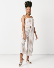 New Look  Stripe Buckle Belted Jumpsuit White