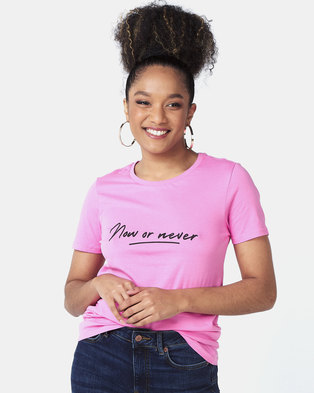 New Look Now Or Never Slogan T-Shirt Bright Pink Neon