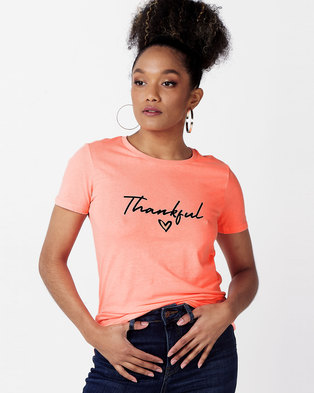 New Look Thankful Slogan T-Shirt Coral Neon