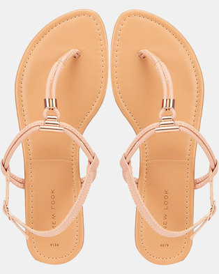 New Look SDT Metal Toe Post Sandals Light Pink
