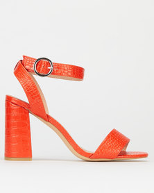 New Look  Faux Croc Ring Buckle Block Heels Orange