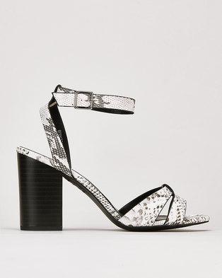 New Look Leather-Look Mid Block Heels Black