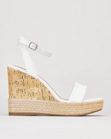 New Look Espadrille Trim 2 Part Cork Wedges White