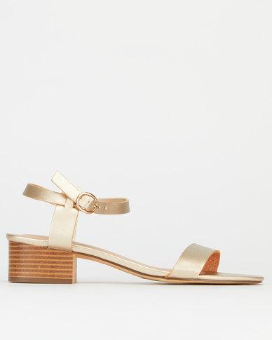 New Look 2 Part Low Block Heel Sandals Gold