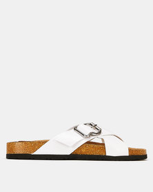 New Look Faux Croc Cross Strap Footbed Sliders White