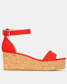New Look Ankle Strap Cork Effect Flatforms Bright Orange