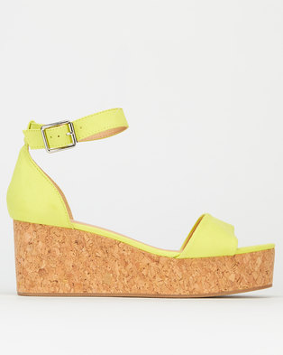 New Look Ankle Strap Cork Effect Flatforms Bright Yellow