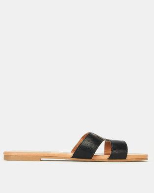 New Look Leather-Look Interlocked Strap Sliders Black