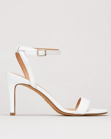 New Look Leather-Look 2 Part Stiletto Heels White