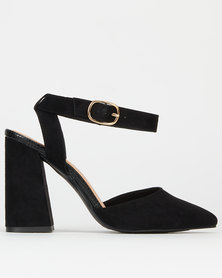 New Look Suedette Flare Heel Court Shoes Black