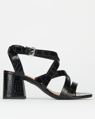 New Look Faux Croc Strappy Sandals Black