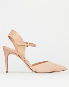 New Look Suedette Piped Stiletto Court Shoes Oatmeal