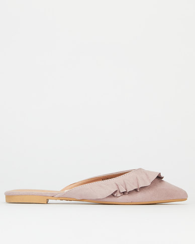 New Look Suedette Frill Pointed Mules Lilac