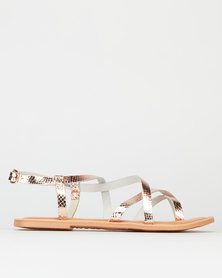 New Look Leather Faux Snake Strappy Sandals Rose Gold