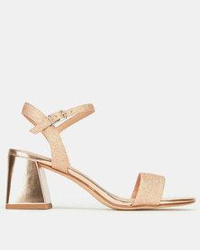 New Look Glitter Metallic Flared Low Block Heels Rose Gold