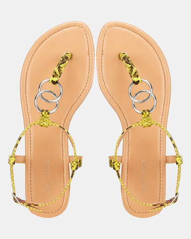 New Look Faux Ring Strap Flat Sandals Green