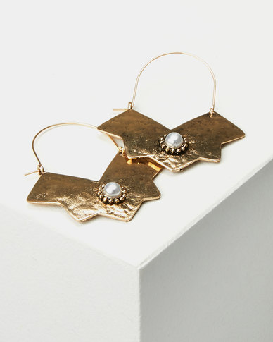 Miss Maxi Battered Drop Earrings Gold-tone
