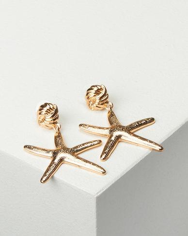 Miss Maxi StarFish Drop Earrings Gold-tone