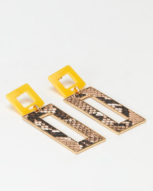 Miss Maxi Faux Snake Rectangle Drop Earrings Yellow