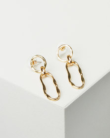 Miss Maxi Battered Drop Earrings Gold-tone