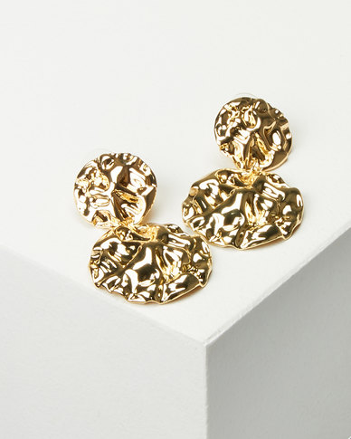Miss Maxi Warped Drop Earrings Gold-tone