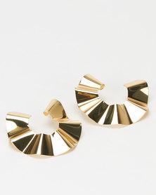 Miss Maxi Gold Warped Open Circle Drop Earrings