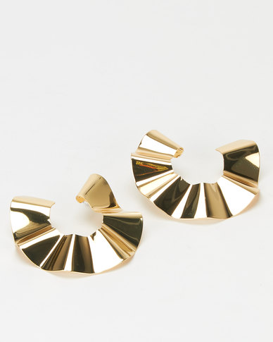 Miss Maxi Gold Warped Open Circle Drop Earrings