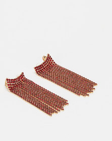 Miss Maxi Diamante Drop Earrings Red