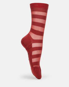 Falke Sheer Terracotta Stripe Ladies Anklet Socks Red-Orange