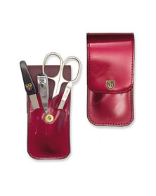 Kellermann 3 Swords Gold Plated Manicure Set Lacquered Burgundy