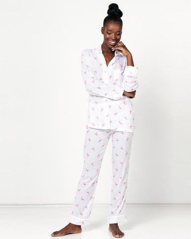 Lila Rose Flamingo Print Long Sleeve Voile PJ Multi