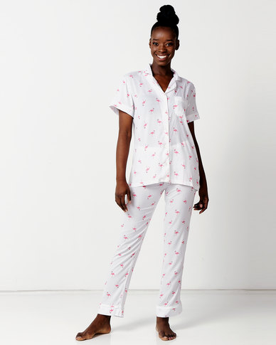 Lila Rose Flamingo Print Short Sleeve + Long Pant PJ Set Multi