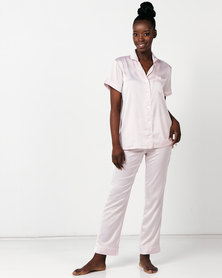 Lila Rose Faux Silk Short Sleeve + Long Pant Pj Set Blush