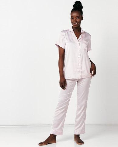 Lila Rose Faux Silk Short Sleeve + Long Pant Pj Set Blush