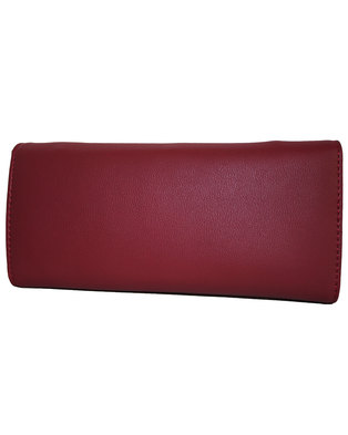 Fino Flap Over PU Leather Purse with Box-Red