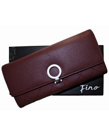 Fino Stylish PU Leather Purse with Box-Burgundy