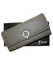 Fino Stylish PU Leather Purse with Box-Grey