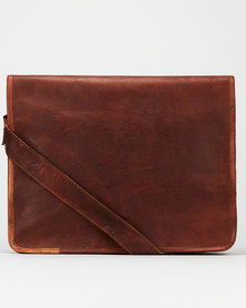 Buyitall.today Leather Crossbody Messenger Bag - Dark Brown