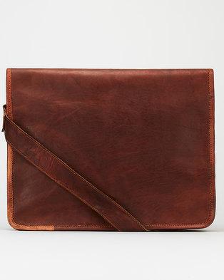 Buyitall.today Leather Crossbody Messenger Bag - Dark Brown