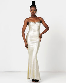 Sissy Boy One Of A Shine Maxi Dress Light Gold
